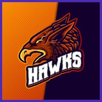 Szablon projektu logo esport maskotka phoenix hawk eagle, styl kreskówki falcon