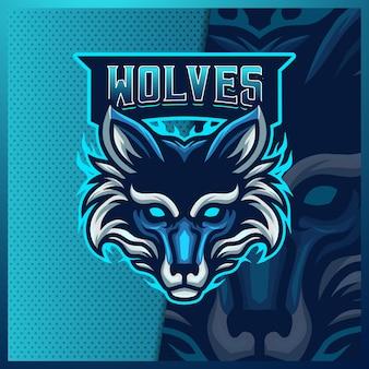 Szablon projektu logo esport maskotka wilka