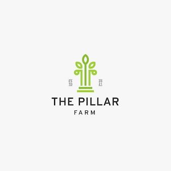 Szablon projektu logo farmy naturalny filar i liść