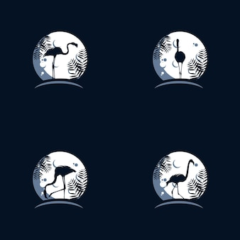 Szablon projektu logo flamingo na księżycu
