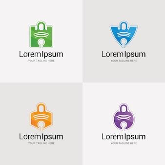 Szablon projektu logo gradientu klucza bezpieczeństwa