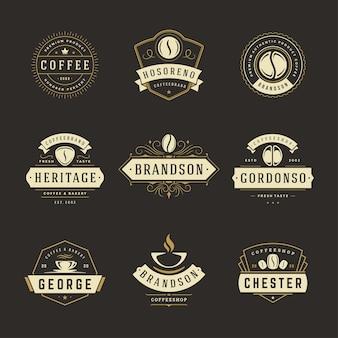 Szablon projektu logo kawiarni zestaw ilustracji
