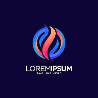 Szablon projektu logo koło z ogniem