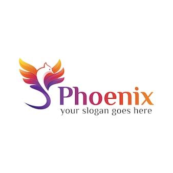 Szablon projektu logo kolorowy mucha feniks lub orzeł