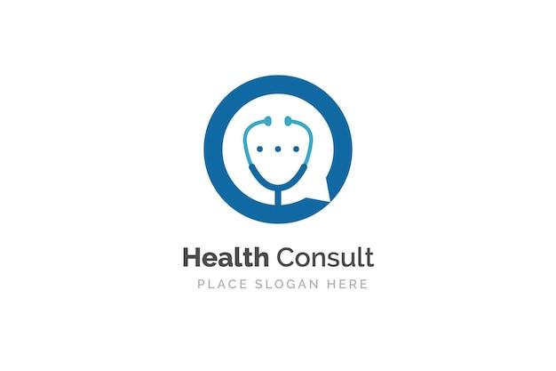 Szablon projektu logo konsultacji zdrowia. stetoskop na białym tle na symbolu bąbelkowego czatu