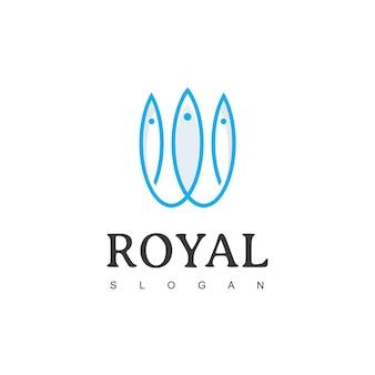 Szablon projektu logo korona ryby ikona koncepcja logo royal fish