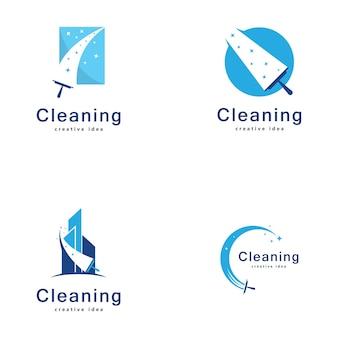 Szablon projektu logo kreatywnej koncepcji czyszczenia