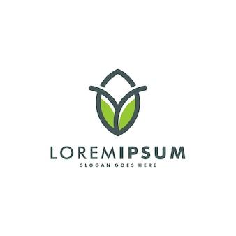 Szablon projektu logo kreatywnej koncepcji liści