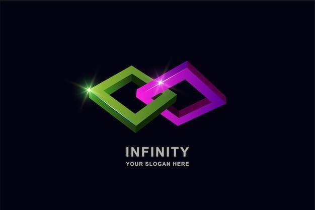 Szablon projektu logo kwadratowych nieskończoności lub ramki