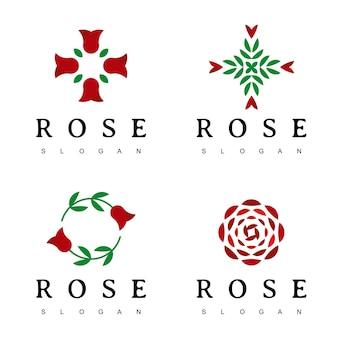 Szablon projektu logo kwiat róży