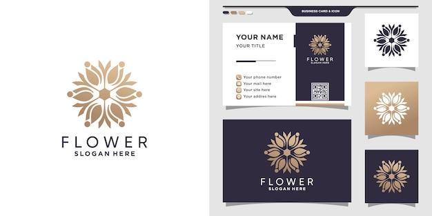 Szablon projektu logo kwiatu z nowoczesną koncepcją i wizytówką