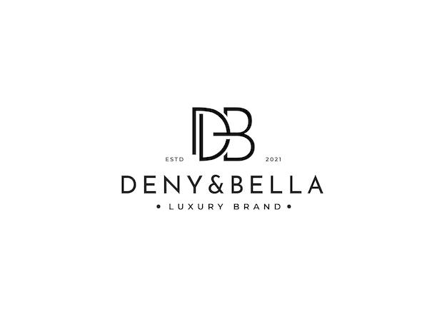 Szablon projektu logo letter db dla marki osobistej lub firmy