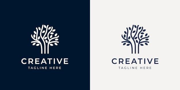 Szablon projektu logo linii gałęzi drzewa