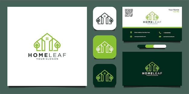 Szablon projektu logo liści domu i wizytówki premium wektor