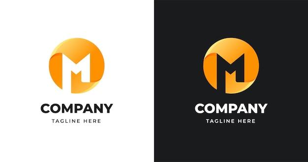 Szablon projektu logo list w stylu kształtu koła