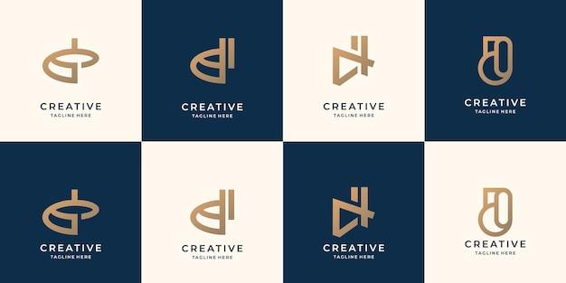Szablon projektu logo litera d kolekcji. logo monogramu dla tożsamości biznesowej, korporacyjnej, technologicznej.