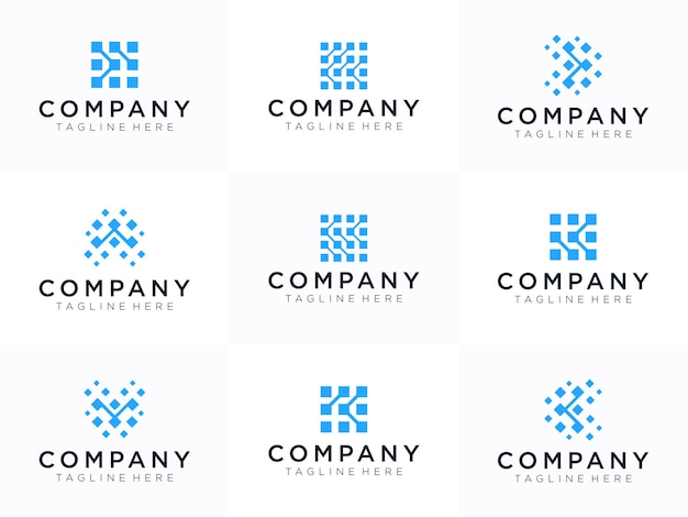 Szablon projektu logo litera k. dynamiczne, uniwersalne szybko poruszające się kropki, atomy, bloki, symbol koloru.
