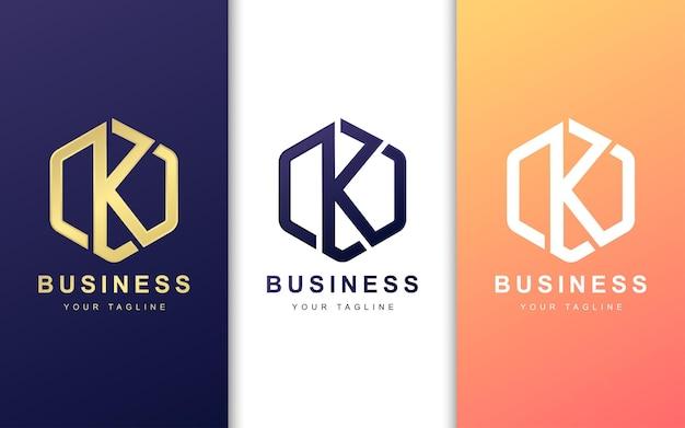 Szablon projektu logo litera k z geometrycznym stylem kształtu