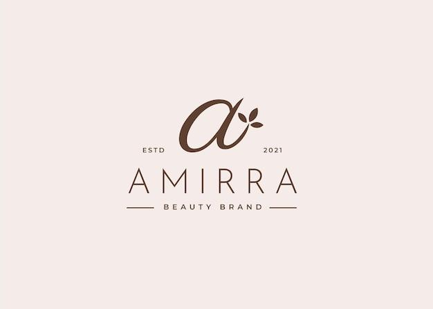 Szablon projektu logo litery a, ilustracje w kobiecym stylu