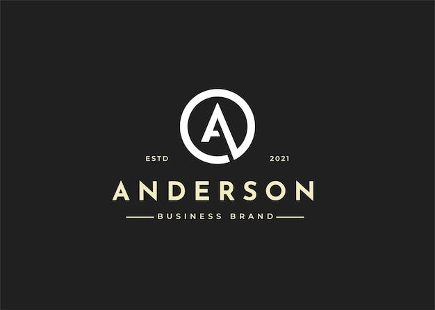 Szablon projektu logo litery a w kształcie koła