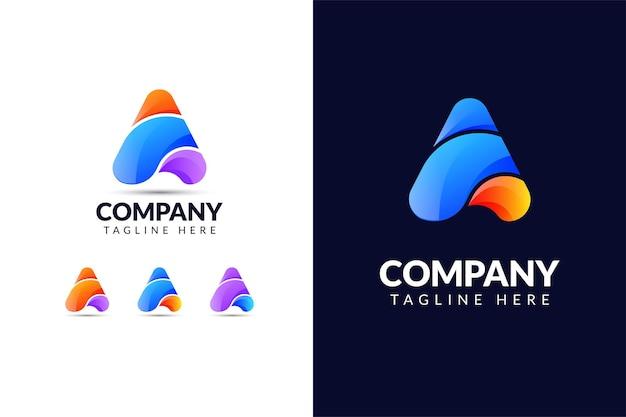 Szablon projektu logo litery a w kształcie trójkąta