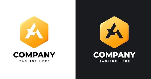 Szablon projektu logo litery a z geometrycznym stylem kształtu