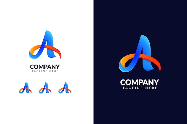 Szablon projektu logo litery a z gradientową koncepcją kreatywną