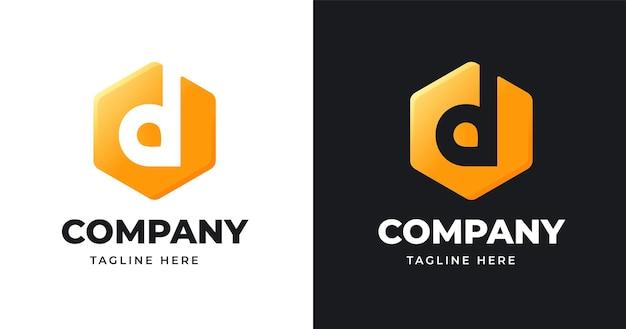 Szablon projektu logo litery d z geometrycznym stylem kształtu