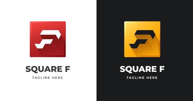 Szablon projektu logo litery f o kwadratowym kształcie