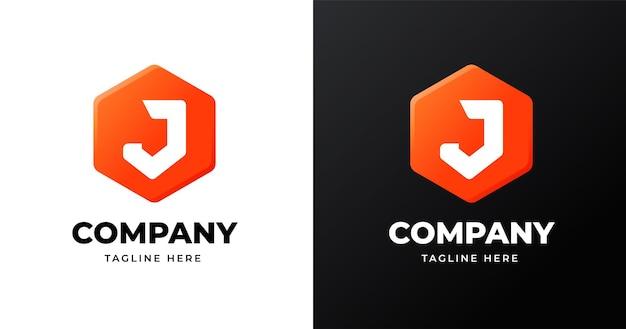 Szablon projektu logo litery j z geometrycznym stylem kształtu