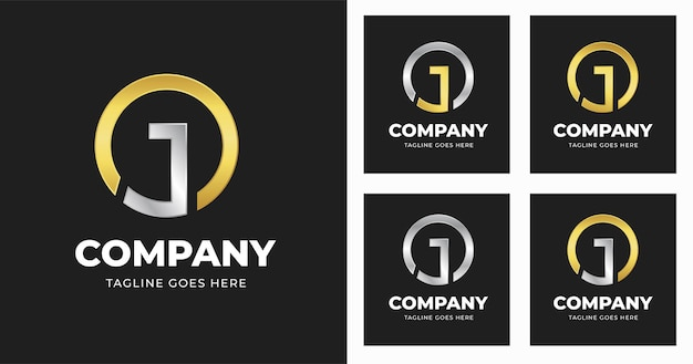 Szablon projektu logo litery j ze stylem kształtu koła
