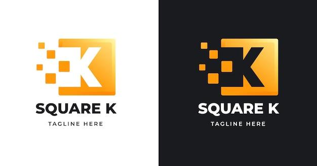 Szablon projektu logo litery k o kwadratowym kształcie