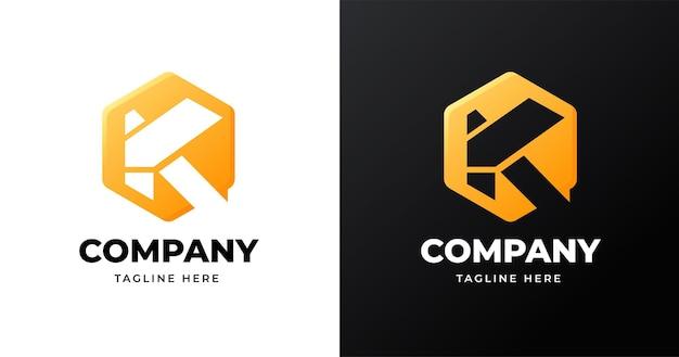 Szablon projektu logo litery k z geometrycznym stylem kształtu