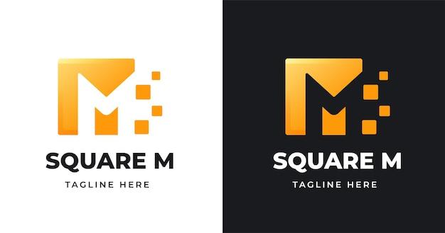 Szablon projektu logo litery m o kwadratowym kształcie