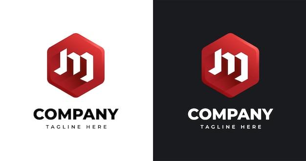 Szablon projektu logo litery m z geometrycznym stylem kształtu