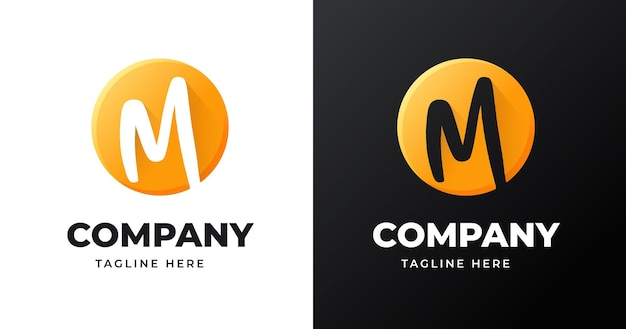 Szablon projektu logo litery m ze stylem kształtu koła