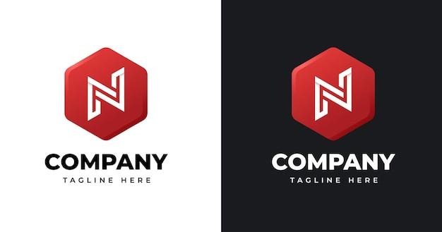 Szablon projektu logo litery n z geometrycznym stylem kształtu
