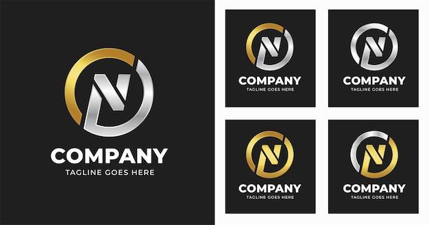 Szablon projektu logo litery n ze stylem kształtu koła
