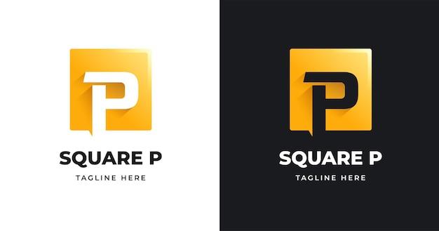 Szablon projektu logo litery p o kwadratowym kształcie