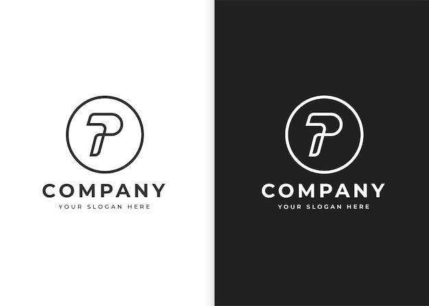 Szablon projektu logo litery p w kształcie okręgu ilustracje wektorowe