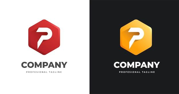 Szablon projektu logo litery p z geometrycznym stylem kształtu