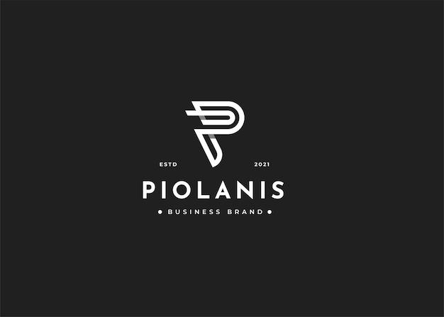 Szablon projektu logo litery p z monogramem