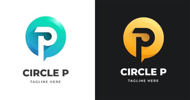 Szablon projektu logo litery p ze stylem kształtu koła
