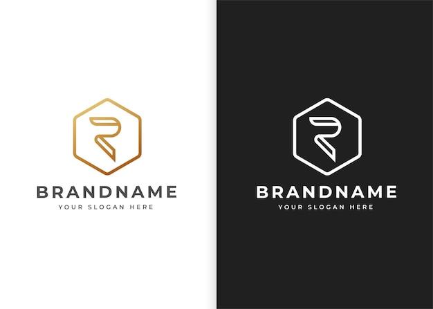Szablon projektu logo litery r o geometrycznym kształcie. ilustracje wektorowe