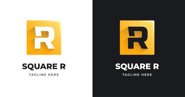 Szablon projektu logo litery r o kwadratowym kształcie