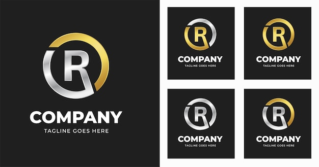 Szablon projektu logo litery r ze stylem kształtu koła