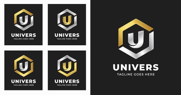 Szablon projektu logo litery u z geometrycznym stylem kształtu