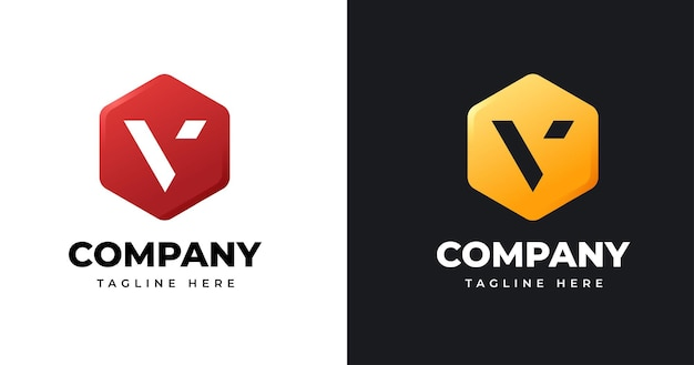 Szablon projektu logo litery v z geometrycznym stylem kształtu