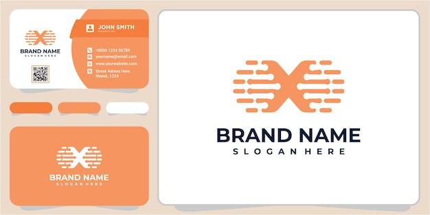 Szablon projektu logo litery x. projektowanie logo x danych. szablon projektu logo litery x tech z wizytówką