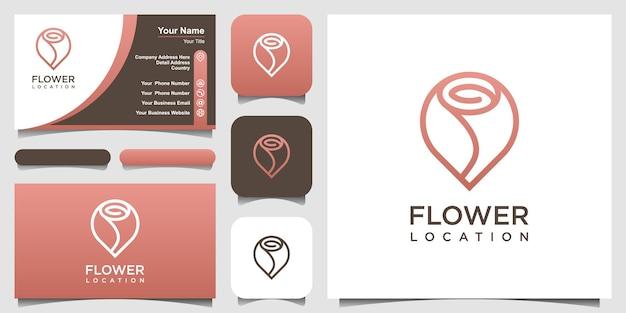 Szablon projektu logo lokalizacji streszczenie kwiat. zestaw projektu logo i wizytówki